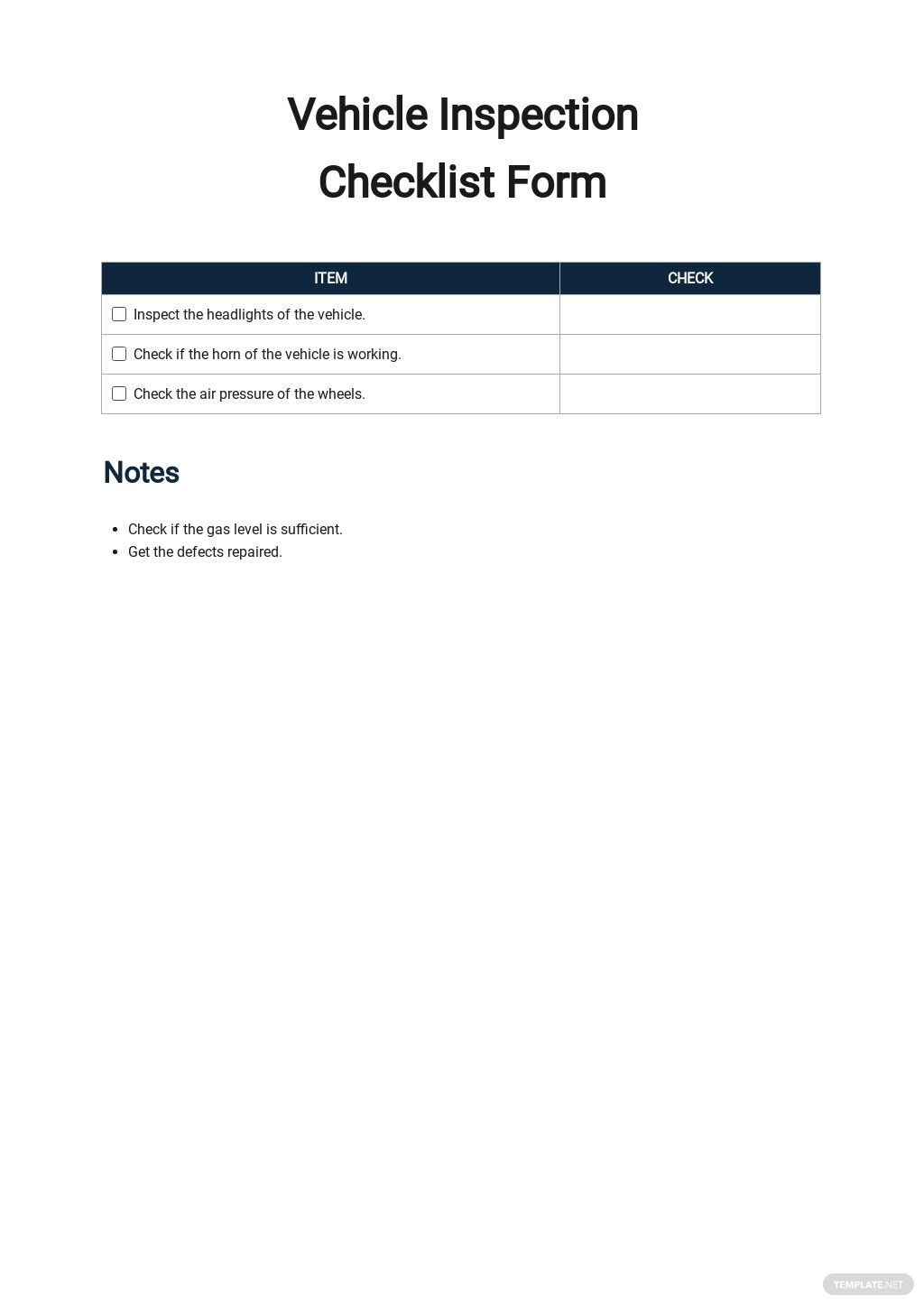 Vehicle Inspection Checklist Form Template