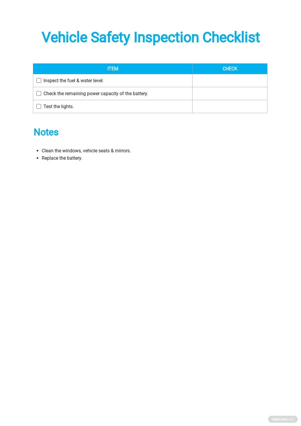 Vehicle Safety Inspection Checklist Template