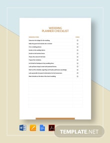 Wedding Planner Checklist Template