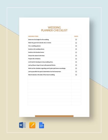 Wedding Planner Checklist Template