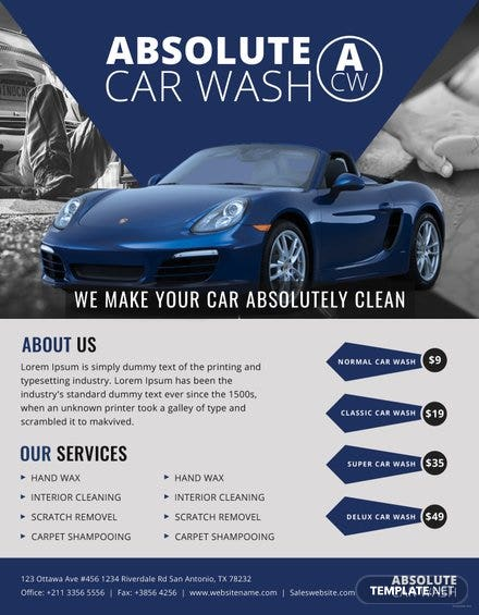Free Simple Car Wash Flyer Template In Adobe Photoshop Illustrator