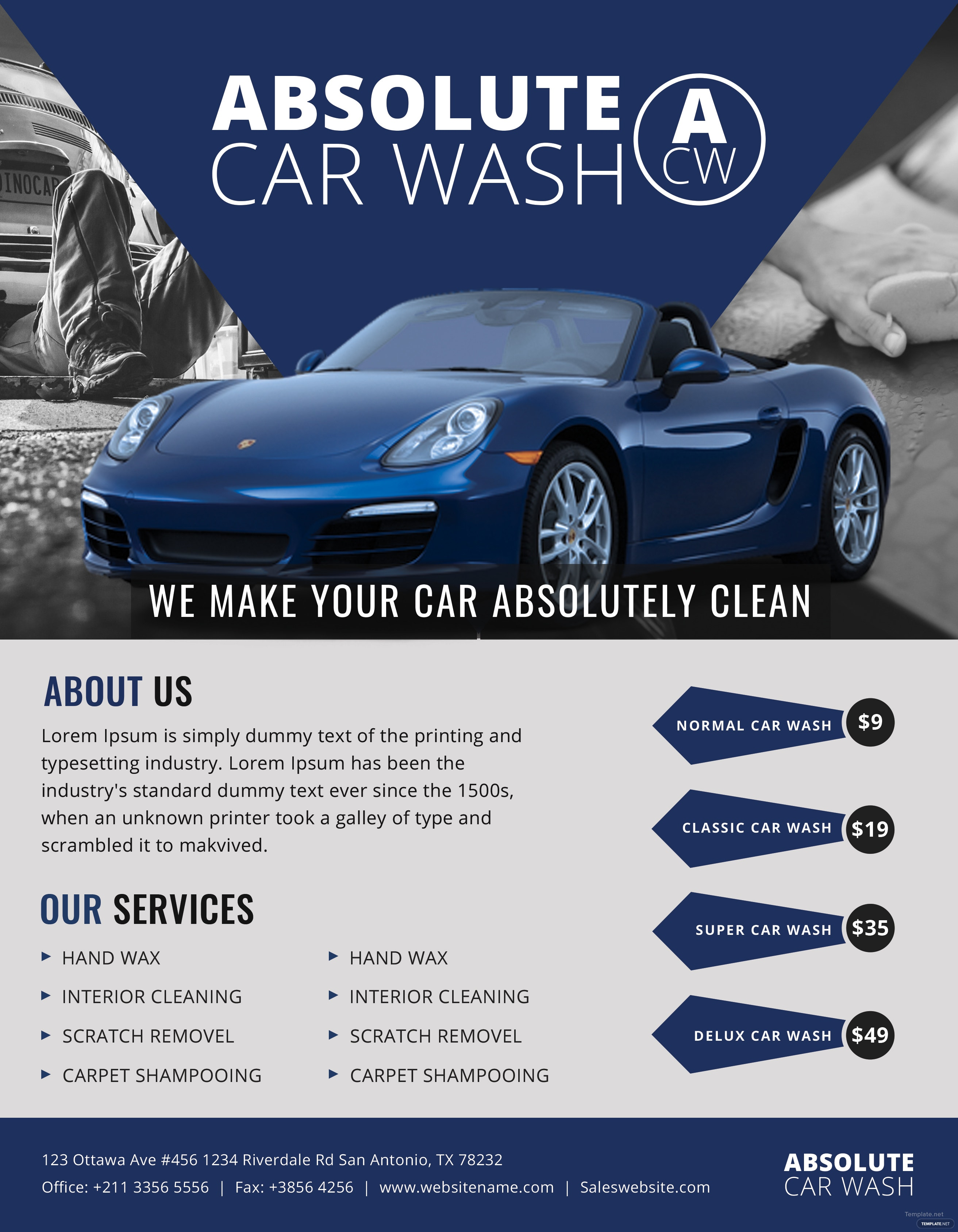 free simple car wash flyer template in adobe photoshop