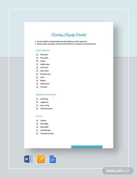 Wedding Registry Checklist Template