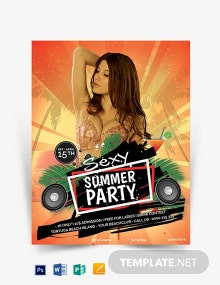 Editable Summer Party Flyer Template