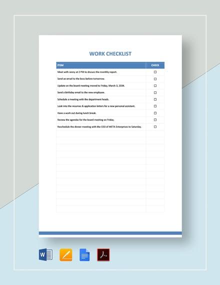 Work Checklist Template