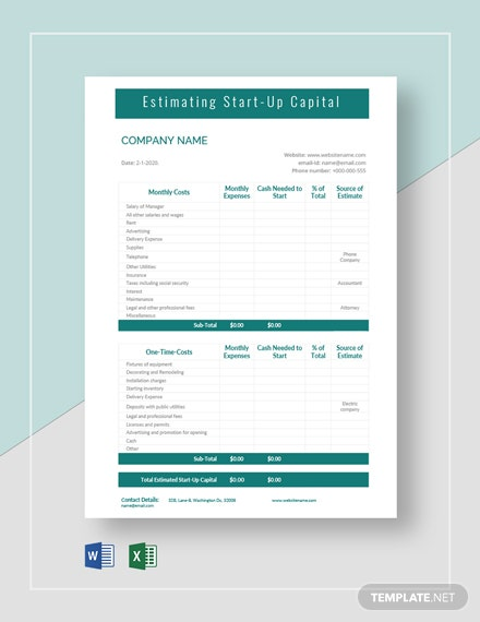 Blank Startup Capital Estimate Template