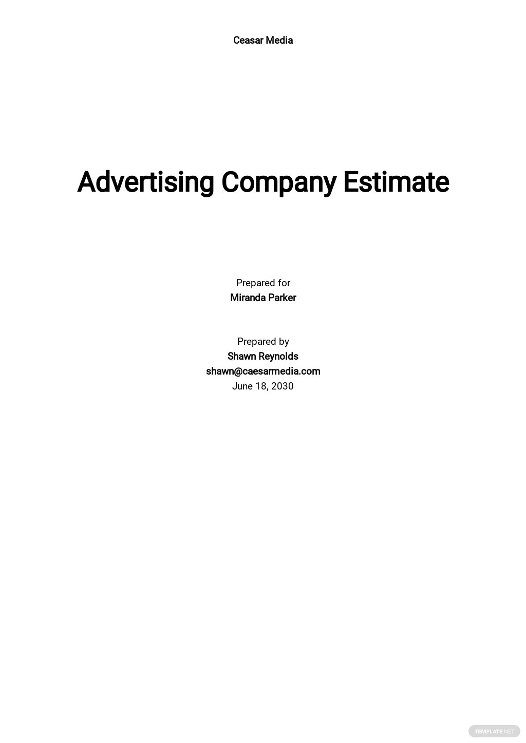 Blank Company Estimate Template