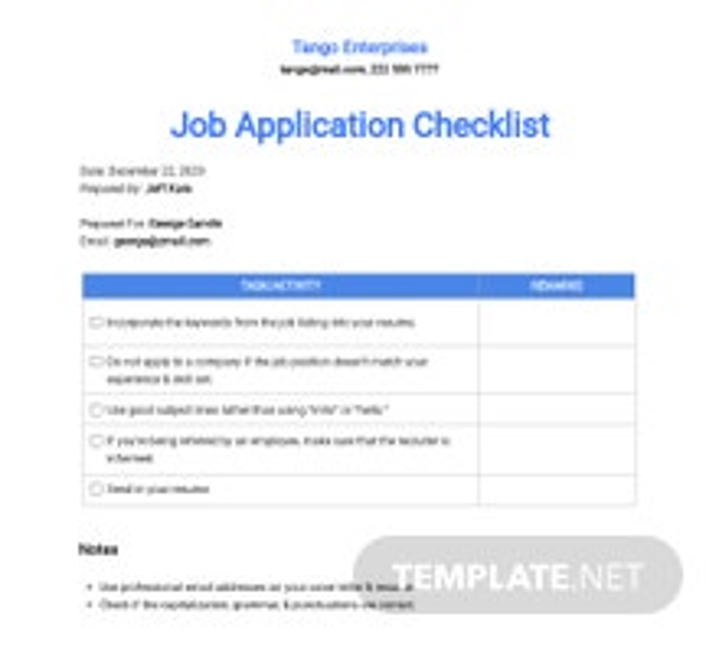 Last Minute Job Application Checklist Template