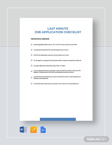 Last Minute Job Application Checklist Template