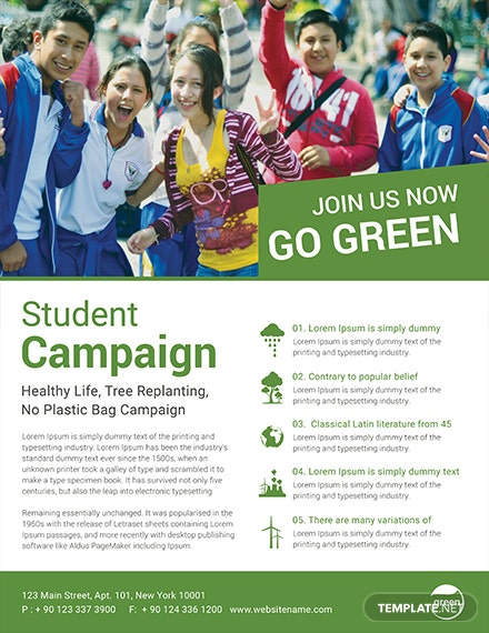 student campaign flyer template 1x