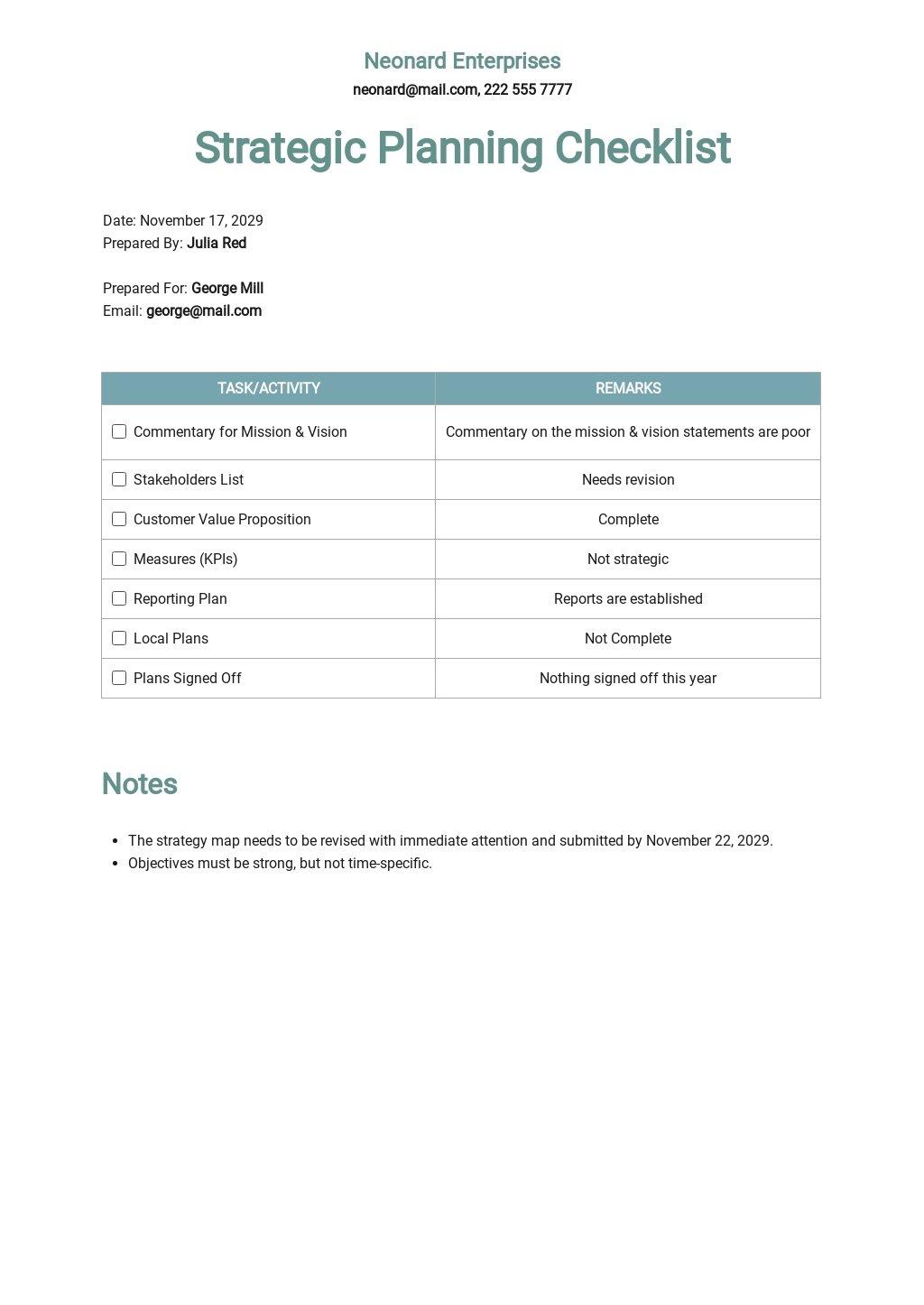 Strategic Planning Checklist Template