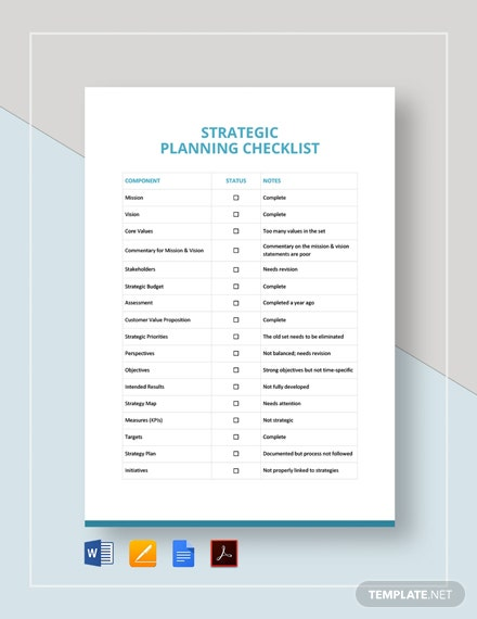 Strategic Planning Checklist Template
