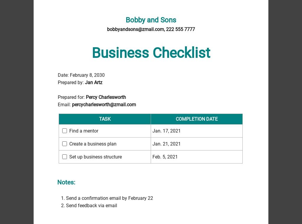 Business Checklist Template