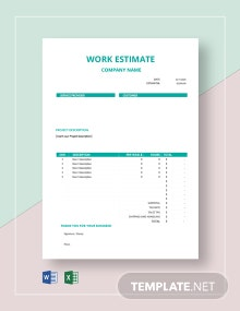 Free Blank Work Estimate Template