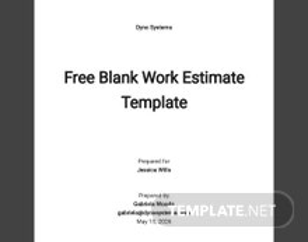 Free Blank Work Estimate Template