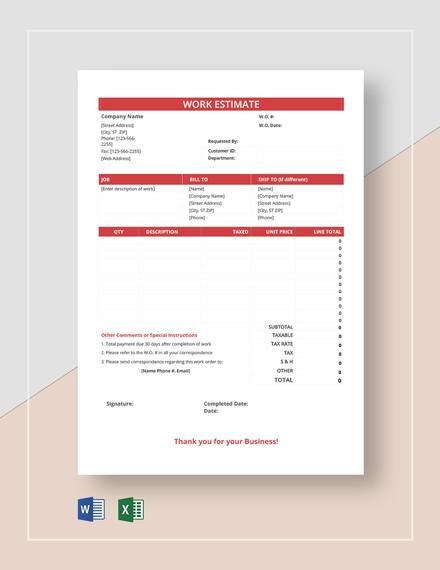 Free Blank Work Estimate Sheet