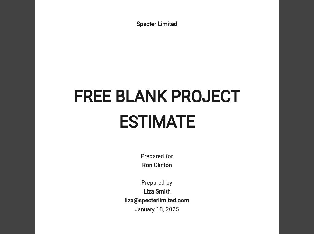 Free Blank Project Estimate
