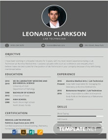 Free Lab Technician Resume Template