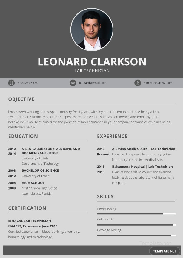 Free Lab Technician Resume And Cv Template In Illustrator