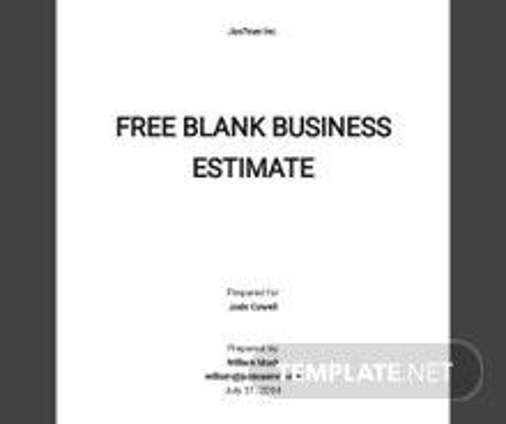 Free Blank Business Estimate