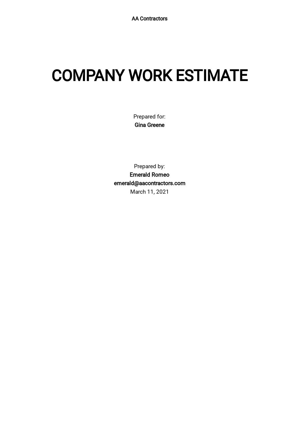 Company Work Estimate Template