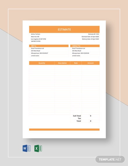 Free Sample Blank Estimate Template