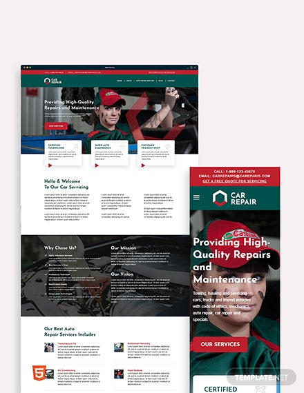 Car Repair Bootstrap Landing Page Template