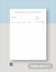 Blank Restaurant Inventory Template