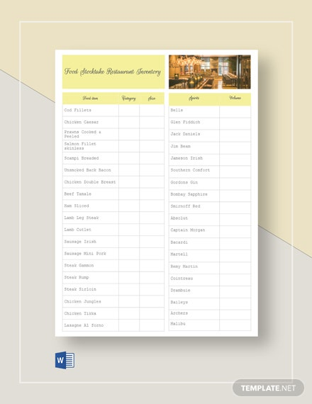 Food Stock-take Restaurant Inventory Template