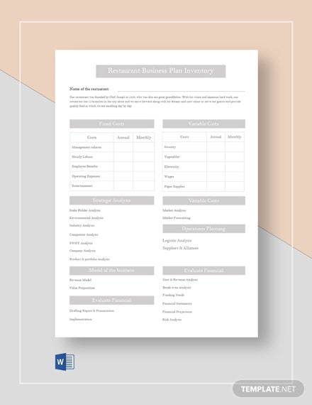 Restaurant Business Plan Inventory Template