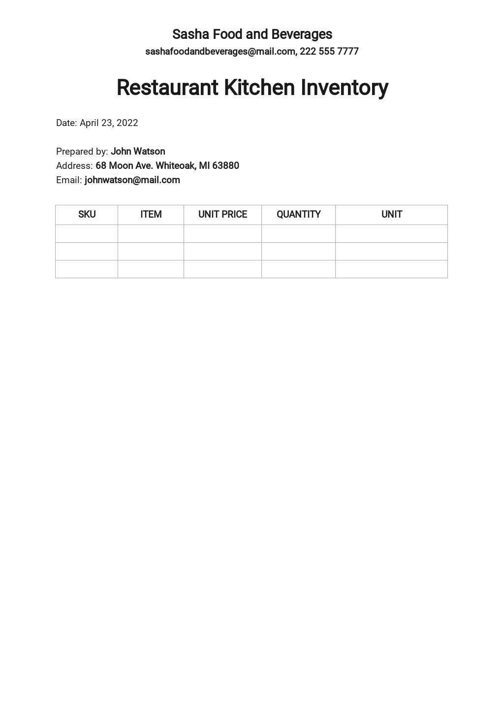 Blank Restaurant Kitchen Inventory Template.jpe