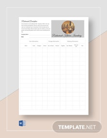 Blank Restaurant Kitchen Inventory Template
