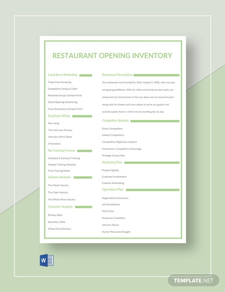 Restaurant Opening Inventory Template