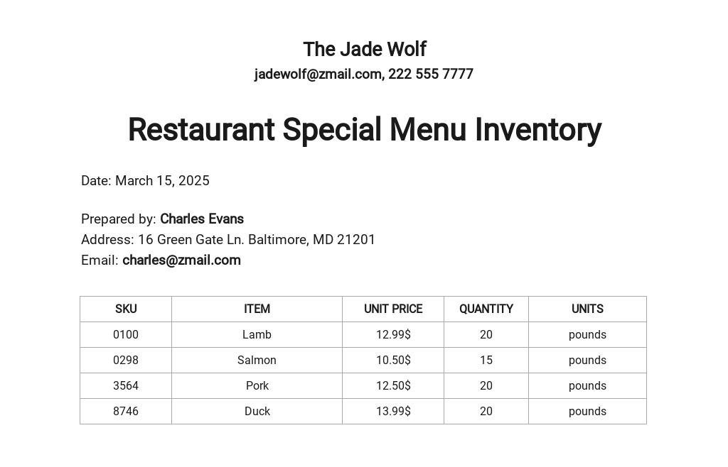 Restaurant Special Menu Inventory Template