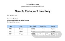 Sample Restaurant Inventory Template