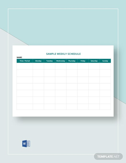 Sample Weekly Schedule Template