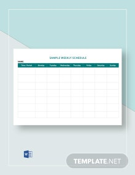 Sample Weekly Schedule Template
