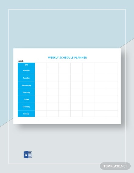 Free Blank Weekly Schedule Template