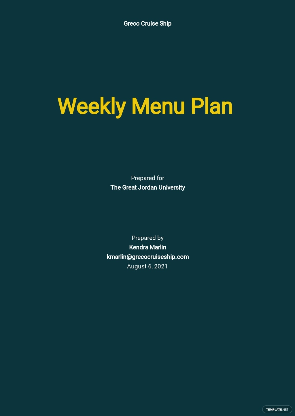 Weekly Menu Plan Template