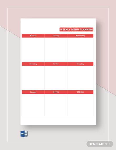 Free Weekly Menu Plan Template