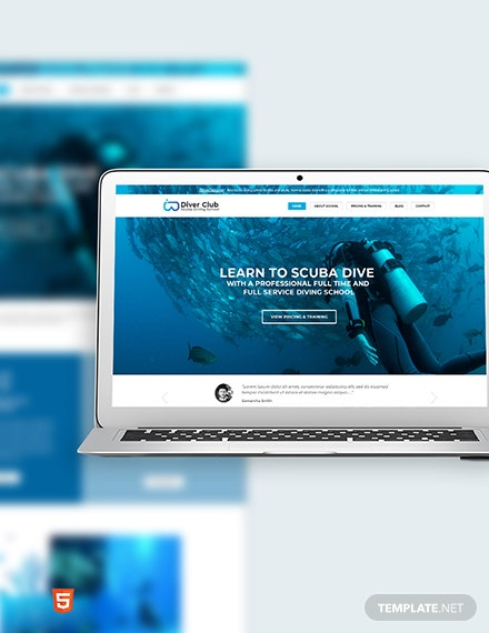 Scuba Diving School Bootstrap Landing Page Template
