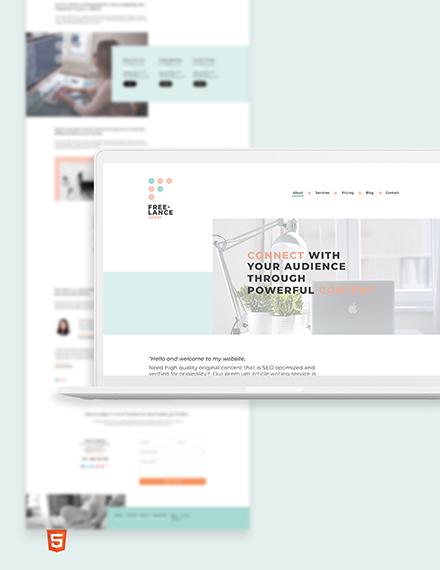 Freelance Writer Bootstrap Landing Page Template