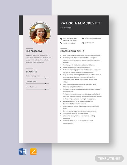 Die Cutter Resume Template