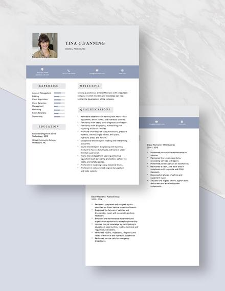 Diesel Mechanic Resume Download