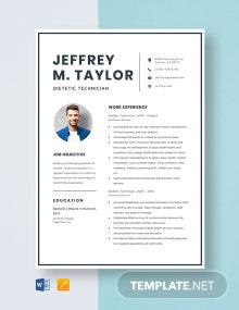 Dietetic Technician Resume Template