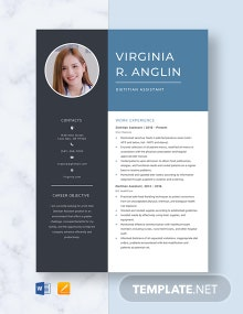 Dietitian Assistant Resume Template