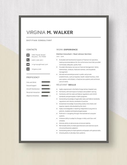 Dietitian Consultant Resume Template