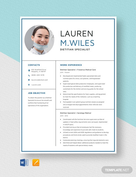 Dietitian Specialist Resume Template