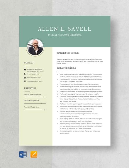 Digital Account Director Resume