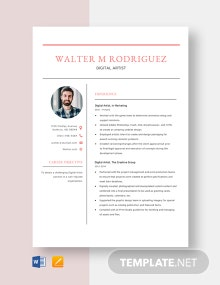 Digital Artist Resume Template